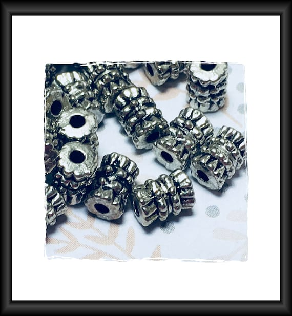 Antique Silver Tone Corrugated Tube Beads 6 x 4 mm , 5 or 10 Beads
