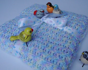 Baby Blanket, Baby Shower Gift, Baby Blanket Crochet, Blue Baby Blanket, Newborn Blanket, Crochet Baby Blanket, Pastel Color Baby Blanket