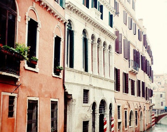 italy photography, venice, italy, europe art, blue decor, red decor, travel photography, architecture, The Canals V16