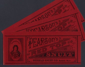 Three, Vintage 1940's Red Top Labels  -  for Art and Craft Projects, Collage, Decoupage, ATC