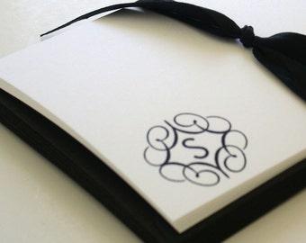swirly wirly monogram notecards