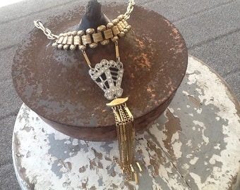 Boho Necklace, Boho Jewelry, Rustic Assemblage Necklace Repurposed Book Chain
