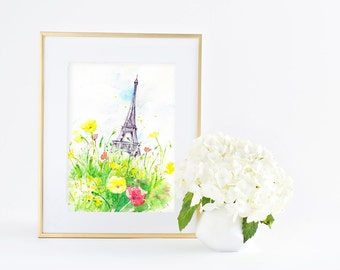 Sunny Day in Paris - Eiffel tower- Giclee Art print - Watercolor Painting - Office & Home decor Wall Art - 8x10 11x14