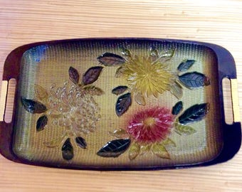Davar NY Japanese Lacquer Ware painted Mums Tray c. 1965
