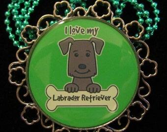 I Love My Labrador Retriever Necklace-Lab Dog Necklace-Handmade Resin Pendant Jewelry