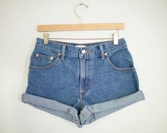 Vintage Levi's Medium Wash High Waisted Rise Cut Offs Cuffed Denim Shorts - 28
