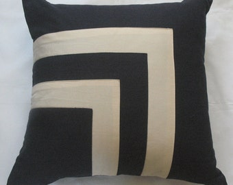 navy and cream throw pillow cover  with square graphic design linen 16 inch to 18 inch