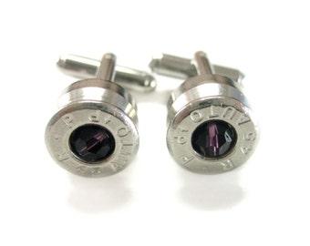 45 Caliber Silvertoned Cufflinks with Purple Swarovski Crystals
