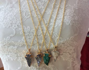 Long gold chain and Druzy arrowhead necklace, raw crystal necklace, natural druzy pendant necklace