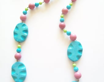 Genuine Chalk Turquoise Necklace and Earring Set