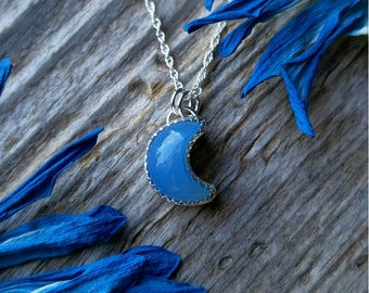 Blue Chalcedony Moon Necklace Sterling Silver Gemstone 925 Jewelry LunaMesaCo