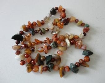 VINTAGE multi color polished agate BEADED NECKLACE - single strand - no closure - slip on - long strand