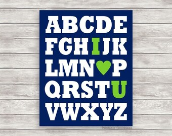 Alphabet I  Love You, Navy and Lime Green Nursery Décor, Baby Boy Nursery Wall Décor, Boy Room Décor, Nursery Printable, Alphabet Print