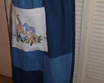 Animal Skirt, Handmade Skirt, Upcycled Skirt, Denim Skirt, Patchwork Skirt, Long Skirt, Large Pocket, Animals, Unique Clothing,Elastic Waist