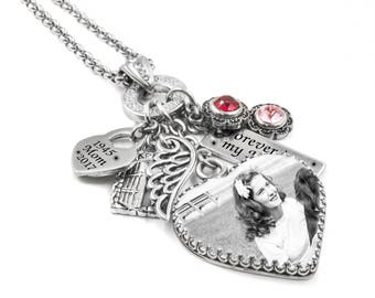 Memorial Heart Necklace with Photo includes personalized engraving, Birthstones and urns options
