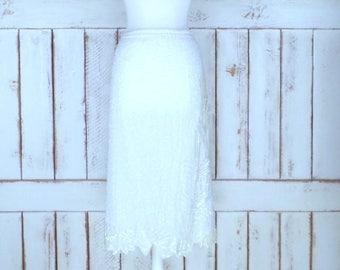 Vintage silk white/light ivory beaded sequin pencil skirt/floral sequin midi/mid length skirt/1x plus size
