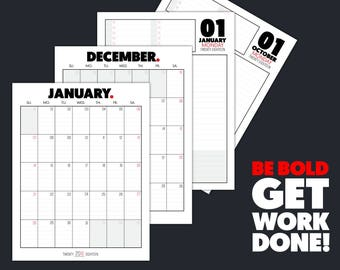 Printable Planner Refills 377 PAGES! - BE BOLD full Monthly and Daily Planner - 8.5x11 Monthly Calendar and Daily Pages