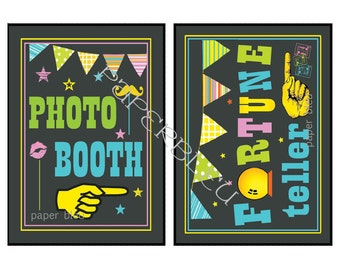 """Weddings/ Parties """"Fortune Teller, Photo Booth""""  Chalkboard Style Signs - Instant Printable Download - two 5x7 prints"""