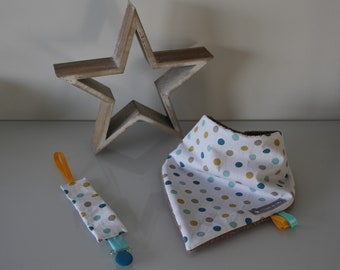 Bandana bib and pacifier clip set with polka dots yellow, blue, turquoise and beige - birthday gift idea