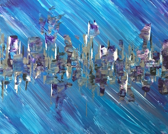 The blues 2 abstract acrylic canvas