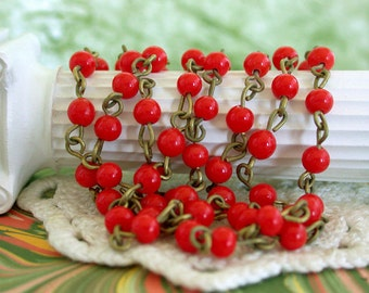 Rosary Chain, Beaded Chain, Glass Bead Chain, Chain, Brass Chain, Bead Chain, Jewelry Chain CHN-021