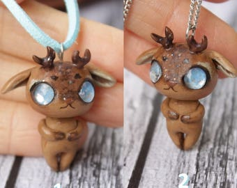 Cute Little baby deer Necklace, kawaii animal charm polymer clay fawn, Original gift for a girl on the day of birth or Christmas