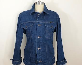 70s Style Wrangler Western Denim Jean Jacket, Mens Size Small