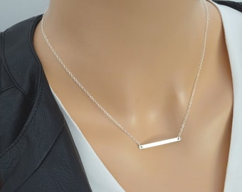 Delicate Sterling silver bar necklace, Skinny Bar Necklace, Personalized bar necklace, Cutom name necklace