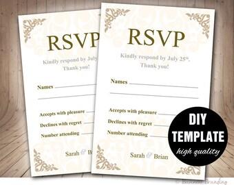 Wedding RSVP Template,Wedding Response Cards,Instant Downloadable Microsoft Word,Wedding RSVP Card in Gold,Gold Wedding Response Card