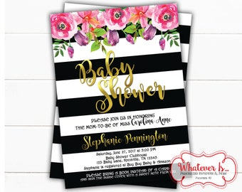 Floral Black and White Baby Shower Invitation | Black and White Baby Shower | Black and White Stripes | Floral Baby Shower | Printed | DIY