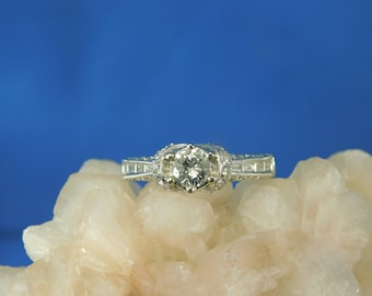 0.32 ct. Round Diamond and Pave Accent Diamonds Engagement Ring Art Deco Style Setting 14k White Gold