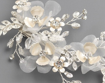 Floral Bridal Hair Comb, Tulle Flower Wedding Clip, Silver Floral Bridal Accessory,Rhinestone Wedding Hair Piece, Floral Bridal Clip~TC-2312