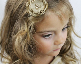 Tan Flower Hair Clip - Tan Boho Chic Flower with Pearls - Custom Colors Available