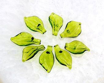 Lampwork peridot green leaf 17mm,  glass handmade artisan lampwork  bead,  sra
