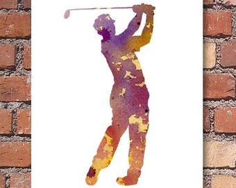 Golfer Art Print - Golf Art Print - Abstract Watercolor Painting - Wall Decor