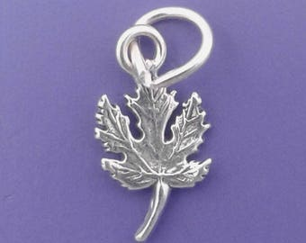 MAPLE LEAF Charm .925 Sterling Silver, Fall Autumn Leaves Miniature Small - elp2526