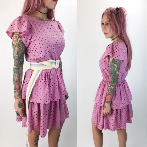 80's Pink Polka Dot Ruffle Dress Medium 6/8 - VTG Allover Print Girly Ruffle Statement Eighties Party Dress Bubblegum Pink Cotton Dress