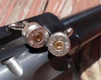 Bullet Shell Cufflinks 40 Cal... Premium Bullet casing Cufflinks  Two Tone silver and gold