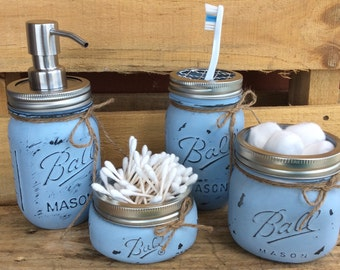 Set of 4/5 Painted Mason Jars. Mason Jar Bathroom Kit. Home Decor. Bathroom Decor. Rustic/Shabby Chic. Wedding/shower/house warming gift.