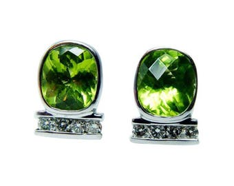 Vintage 14K White Gold Diamond Cushion Peridot Earrings Estate