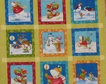 Panneau Tissu pour enfants /  Parade d'Hiver / Pour Patchwork et loisirs créatifs