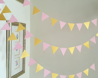 Geometric Triangle Garland,Triangle garland (12F) Pick Your Color,Pink and gold garland,Geometric garland,Wild one party decor,