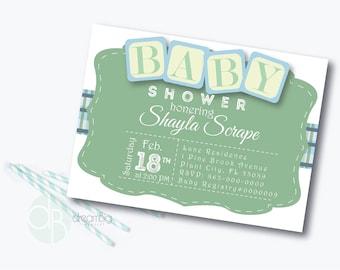 Blocks Baby Shower Invitation, Baby Shower Invitation, Gender Neutral Invitation, Digital Baby Shower Invitations, digital baby invitations