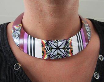 Fantasy polymer clay bib necklace