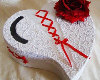 urn wedding Red Ribbon with red rose heart accompany customize white lace