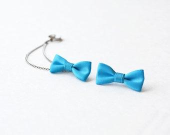 Bright Blue Bow Silver Ear Cuff Earrings (Pair)