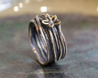 Gold silver band, gold flower ring, wire wrap band, boho ring, wide engagement ring, gypsy ring, statement ring, unique - So Special R2150