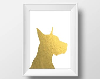 Gold Foil Great Dane Print, Great Dane Print, Great Dane art, Dog decor, Dog lover gift, Great Dane Wall Art