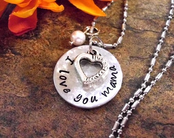 Personalized Jewelry, Mother's Day Jewelry, Hand Stamped Jewelry, I Love You Mama