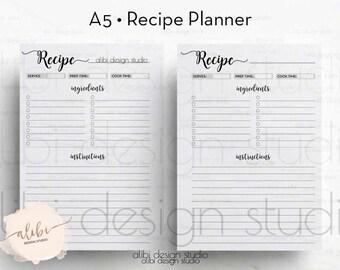 Recipe Planner, Recipe Book, A5 Planner Inserts, Recipe Journal, Recipe Binder, Recipe Cards, A5 Planner, A5 Filofax, Printable Planner